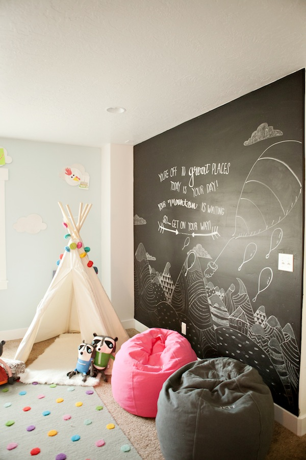 What a darling playroom! That chalkboard wall is darling!