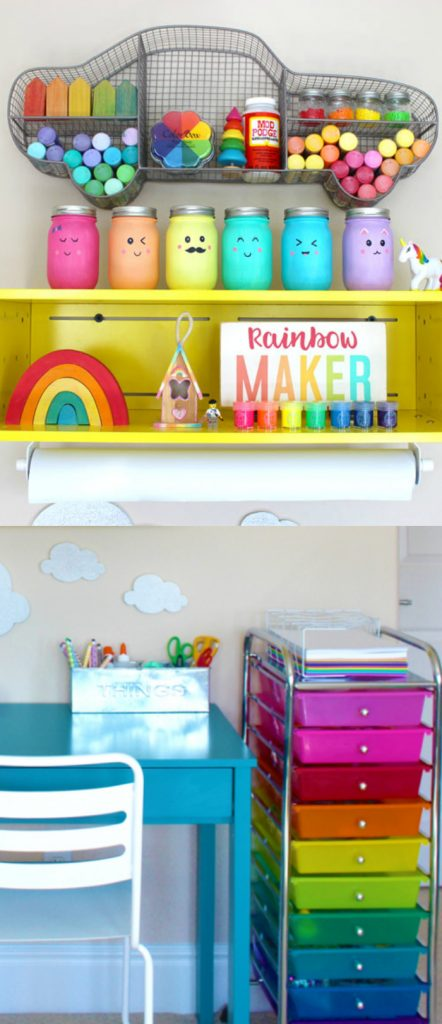 Love this fun art space, perfect for a corner in a kids playroom!
