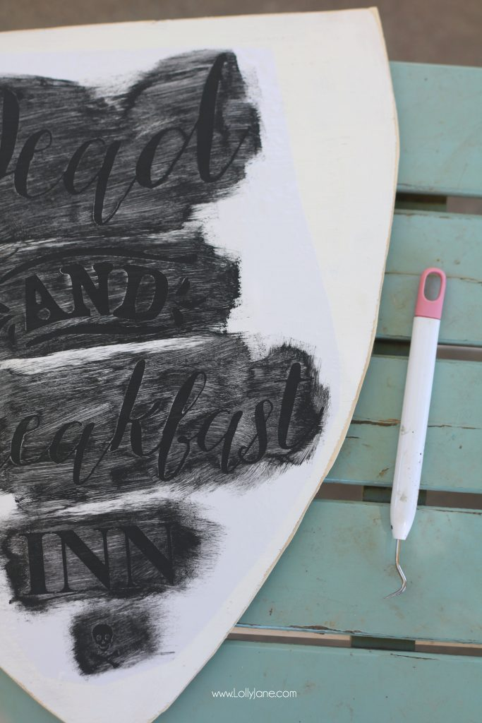 "Use a stencil to make this darling ""Dead and Breakfast Inn"" hanging Halloween sign to welcome guests!"