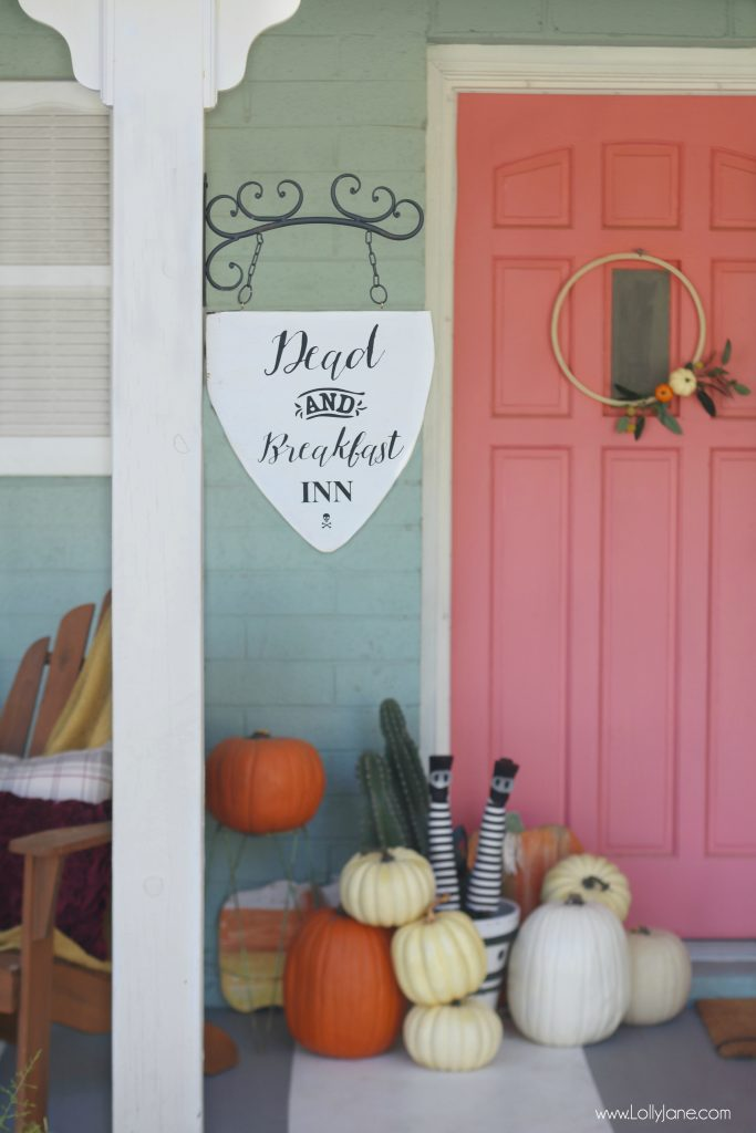 "Cute and easy DIY ""Dead and Breakfast Inn"" hanging sign for your front porch OR outdoor decor!"