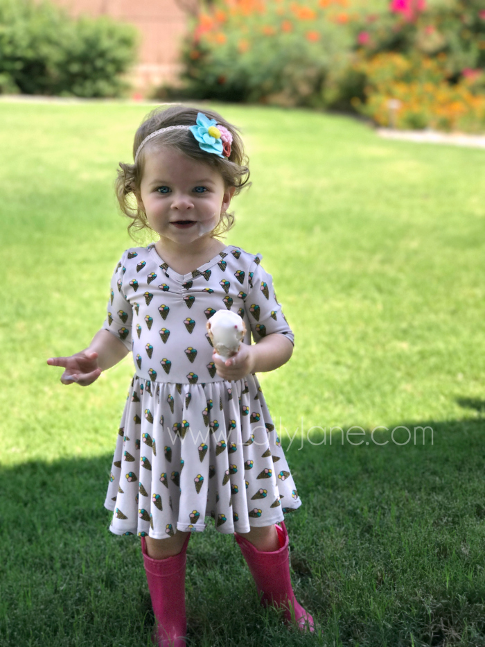 Ice cream cone print on the Dot Dot Smile toddler dress, darling!