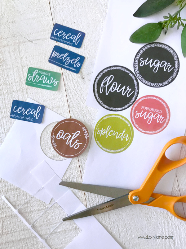 Easy Printable Pantry Labels... make them for FREE in just minutes then print + cut and apply!