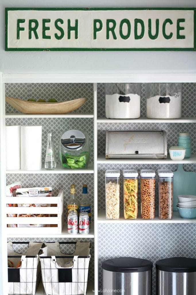 Easy pantry faux wallpaper makeover - Love this pantry and the mixing of the old and new!