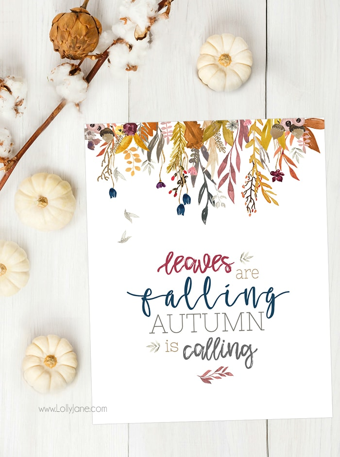 Love this gorgeous watercolor autumn print, perfect to display for fall! Just download + print!