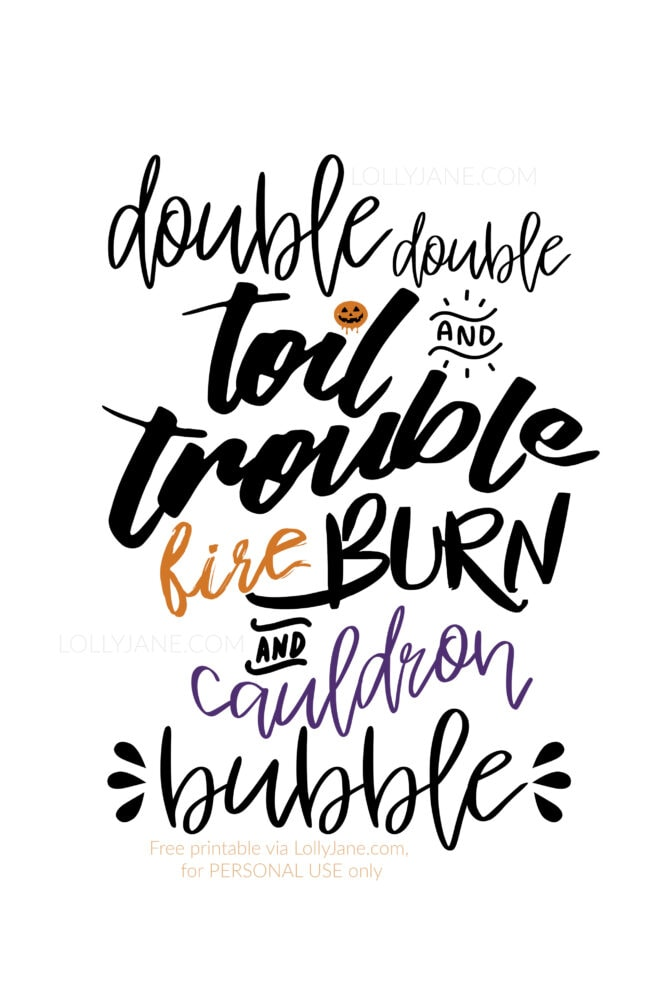"Cutest MacBeth Halloween Printable Art... ""Double Double Toil and Trouble..."" 🧡  Just print and display! #halloween #halloweenart #halloweenprintableart #halloweenprint #halloweendecor #halloweendecoration"