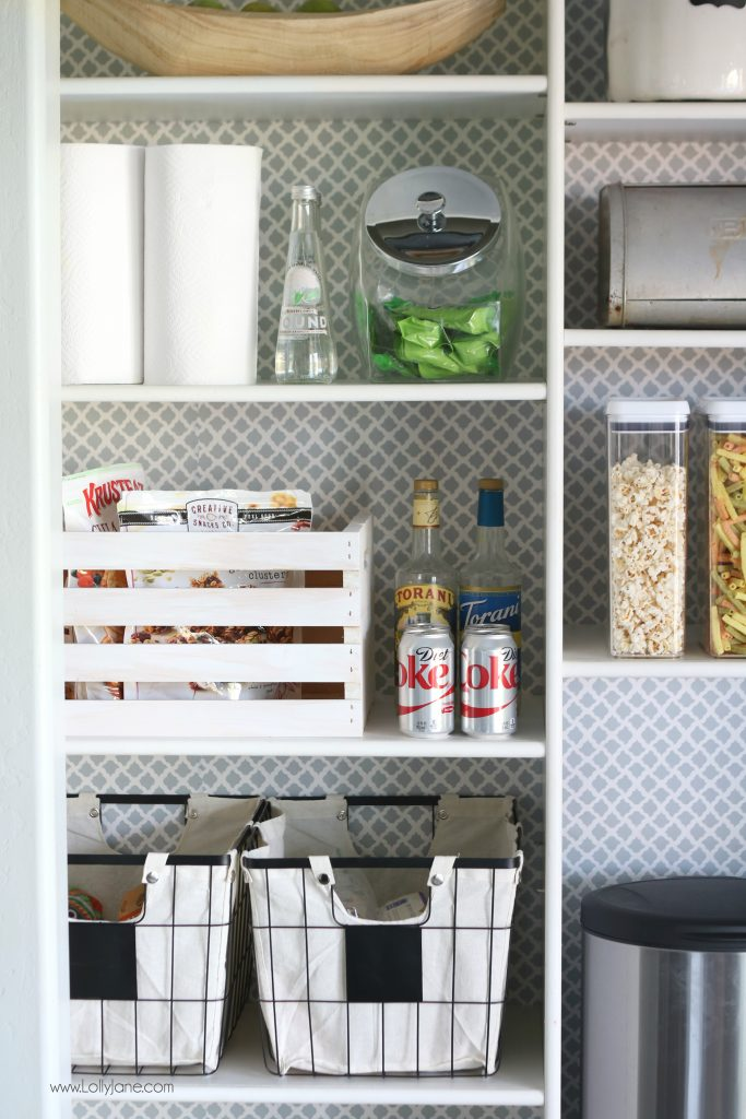 Use everyday containers to organize your pantry, this one is so cute!