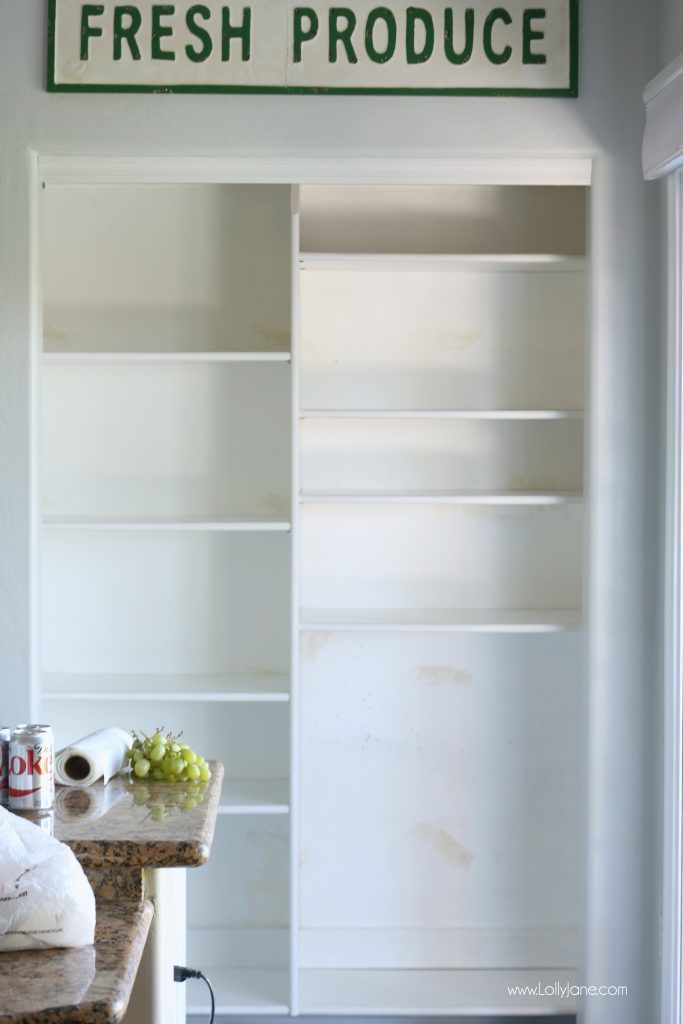 "Easy pantry faux wallpaper makeover - Click to see the ""AFTER"" of this space, transformed in just minutes with shelf paper liner as DIY wallpaper!"