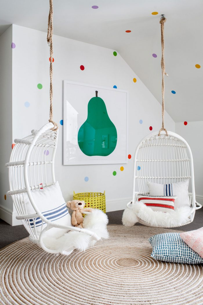 Cutest swings in this darling polka dot playroom!
