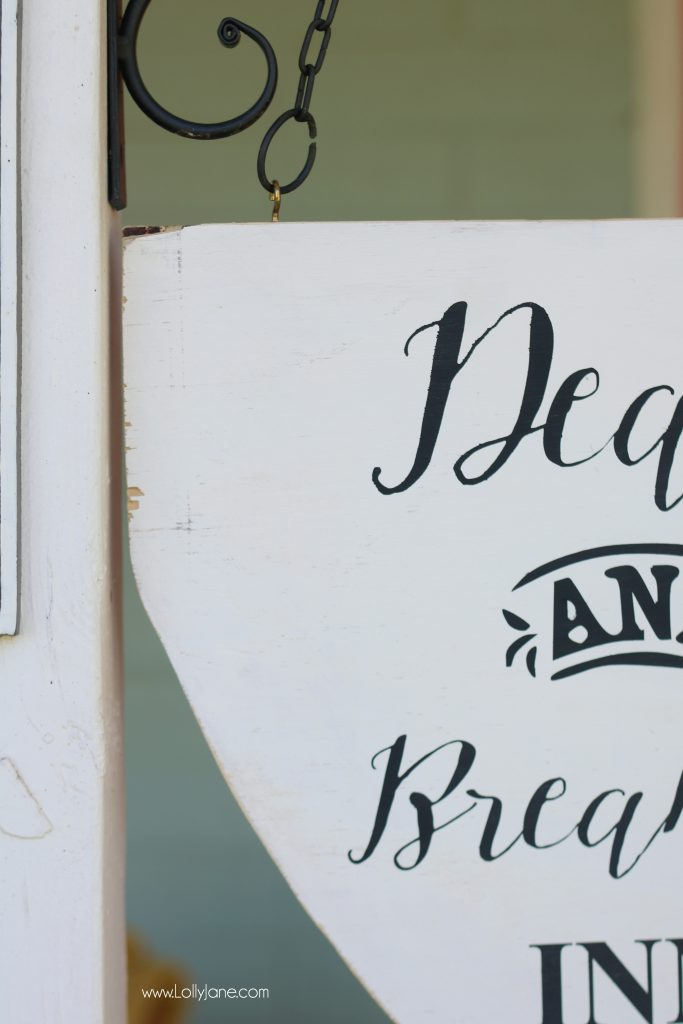 "Love this ""Dead and Breakfast Inn"" hanging sign, easy to make and cute for Halloween porch decor!"