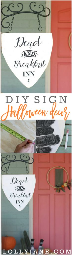 How to make a dead and breakfast inn sign, such cute Halloween decor wihtout being too cheesy! Love this fun Halloween outdoor sign, such fun outdoor Halloween decor ideas!