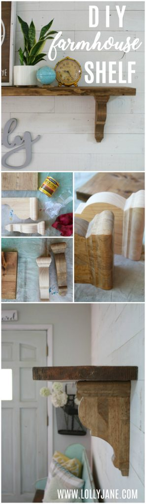 Learn how easy it is to make these diy farmhouse shelves! So dang cute and so dang simple! Get the step by step to make this easy rustic shelf, love the wood corbels!