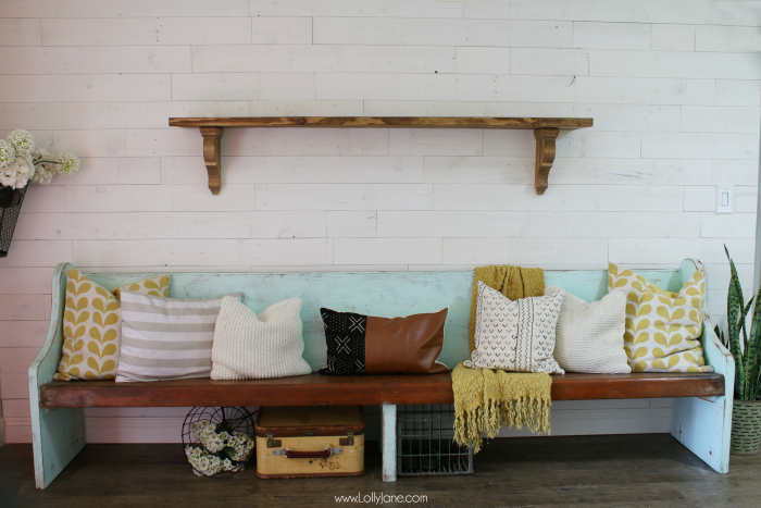 Follow this simple tutorial to make this farmhouse shelf! Such an easy step by step to make a rustic shelf!