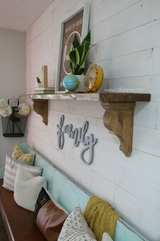 Loving this eclectic farmhouse decor! Learn how easy it is to make this easy rustic farmhouse shelf!
