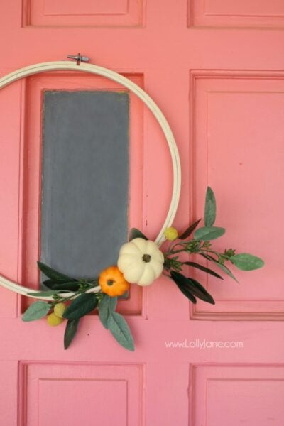 Such a cute fall wreath for your front door fall decor! Love this DIY fall wreath hoop art!