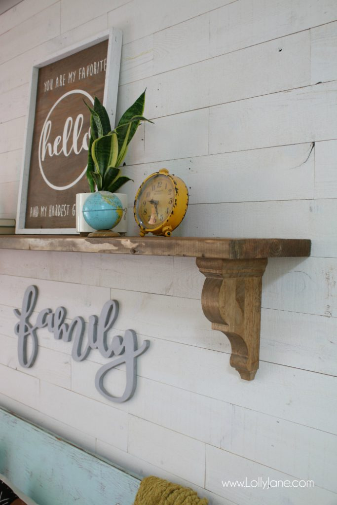 Easy peasy farmhouse shelf tutorial! Love these rustic corbels to make this easy entryway shelf!