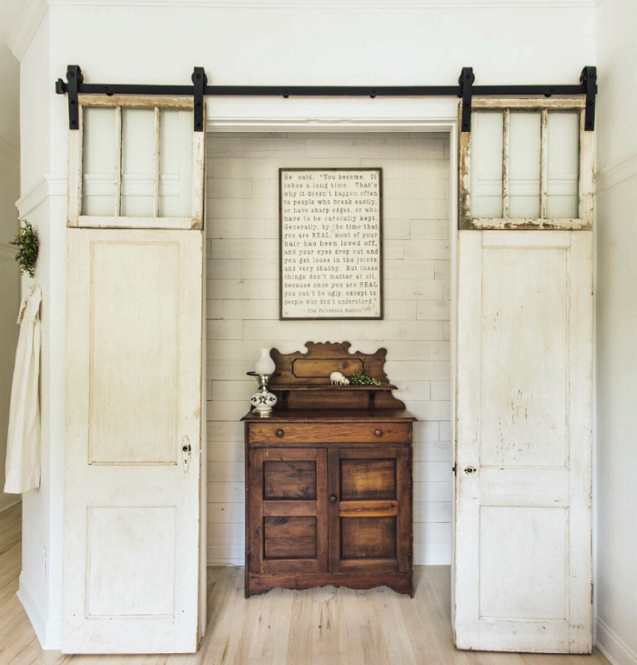 Check out this awesome closet makeover!! Add peel and stick Hamptons Stikwood, love this reclaimed wood wall!