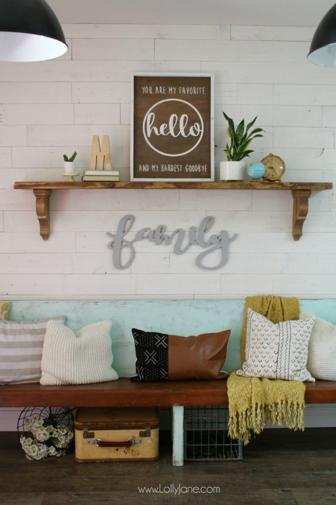 The easy way to make farmhouse shelves! Love these rustic corbels stained with a matching piece of wood, so easy to create this farmhouse entryway shelf!
