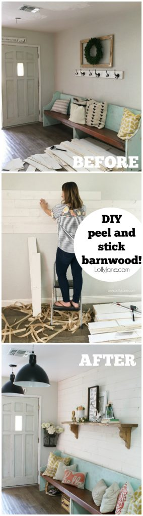 Loving this DIY peel and stick shiplap barnwood wall treatment!! Can you believe this real barnwood is so easy to install!?