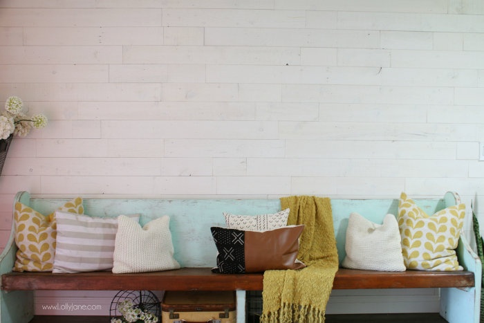 Love this peel and stick shiplap wall, such an easy way to shiplap a wall quickly!