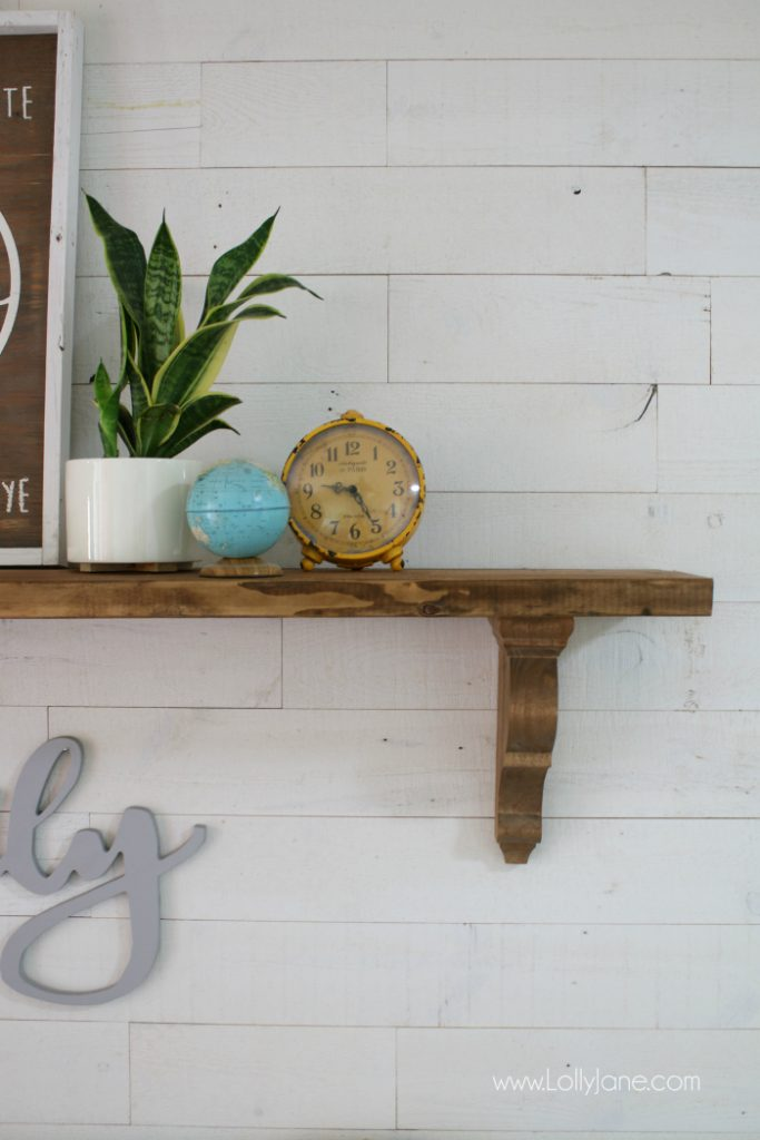 Easy rustic farmhouse tutorial, so easy to create this entryway farmhouse shelf!