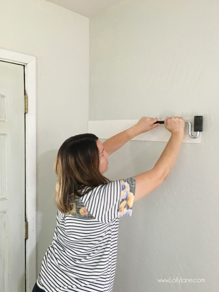 How to install peel and stick shiplap. Love this shiplap farmhouse wall, such a difference!