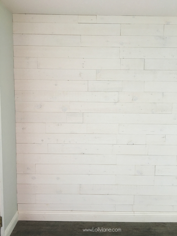 Loving this peel and stick shiplap wall treament! Easy to install, no painting required!