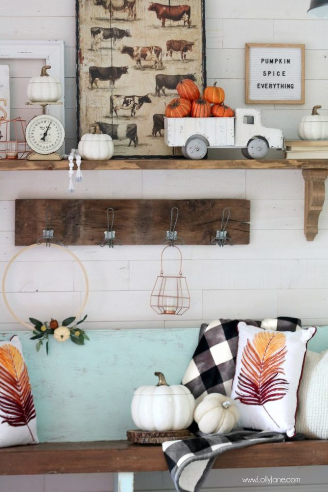 Love This Farmhouse Chic Mantel in This Pretty Entryway... Decorate for Fall BEAUTIFULLY and EASY!