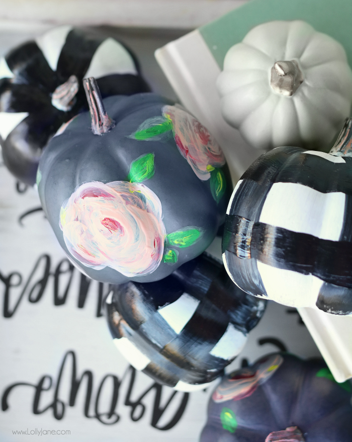 Easy DIY Floral Faux Watercolor + Buffalo Check Painted Pumpkins, so cute!