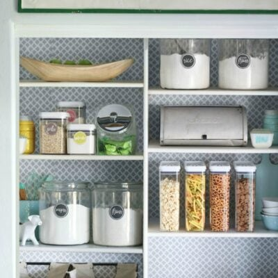 Easy pantry faux wallpaper makeover