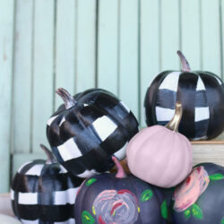 cute & easy painted floral plaid pumpkins tutorial