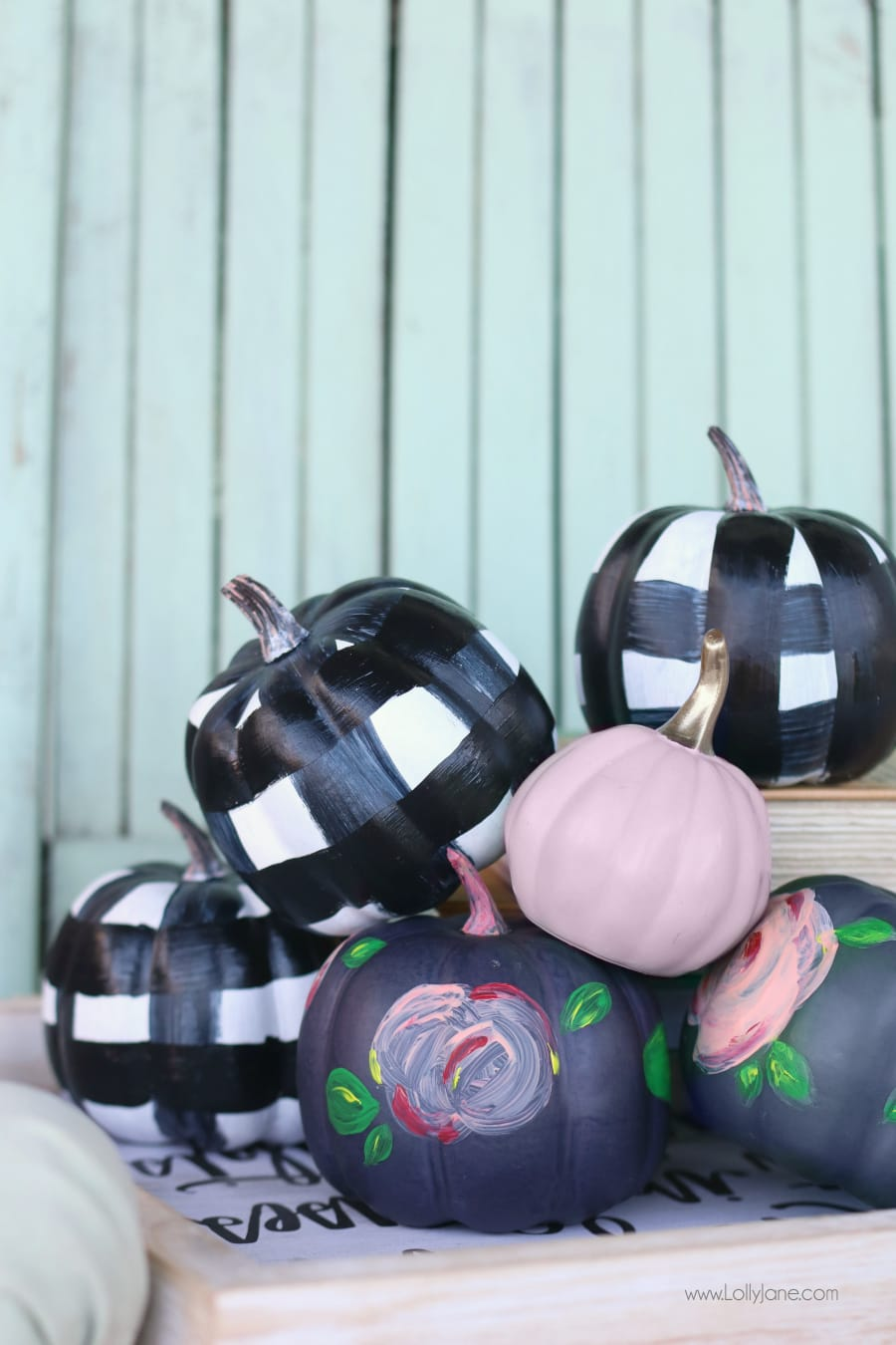 easy painted floral plaid pumpkins tutorial