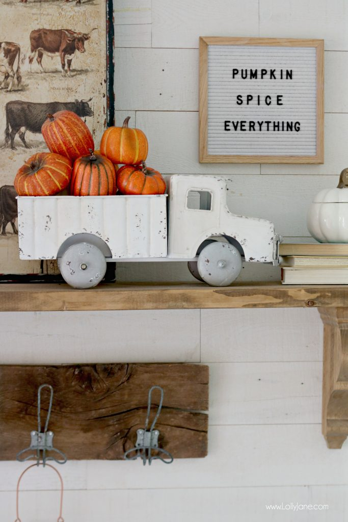 "Cute Fall Mantel, love the Vintage Truck with Faux Pumpkins + Gourds. ""Pumpkin Spice Everything"" letter board is perfect for this space!"