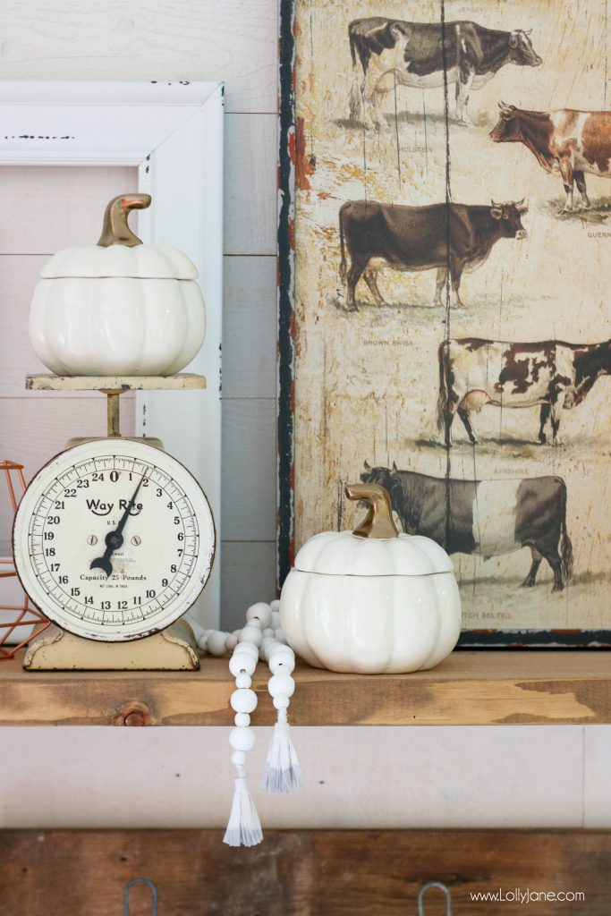 Decorate your Entryway Mantel EASILY with vintage items paired with new! Love these ceramic pumpkin lidded bowls that double as decor!