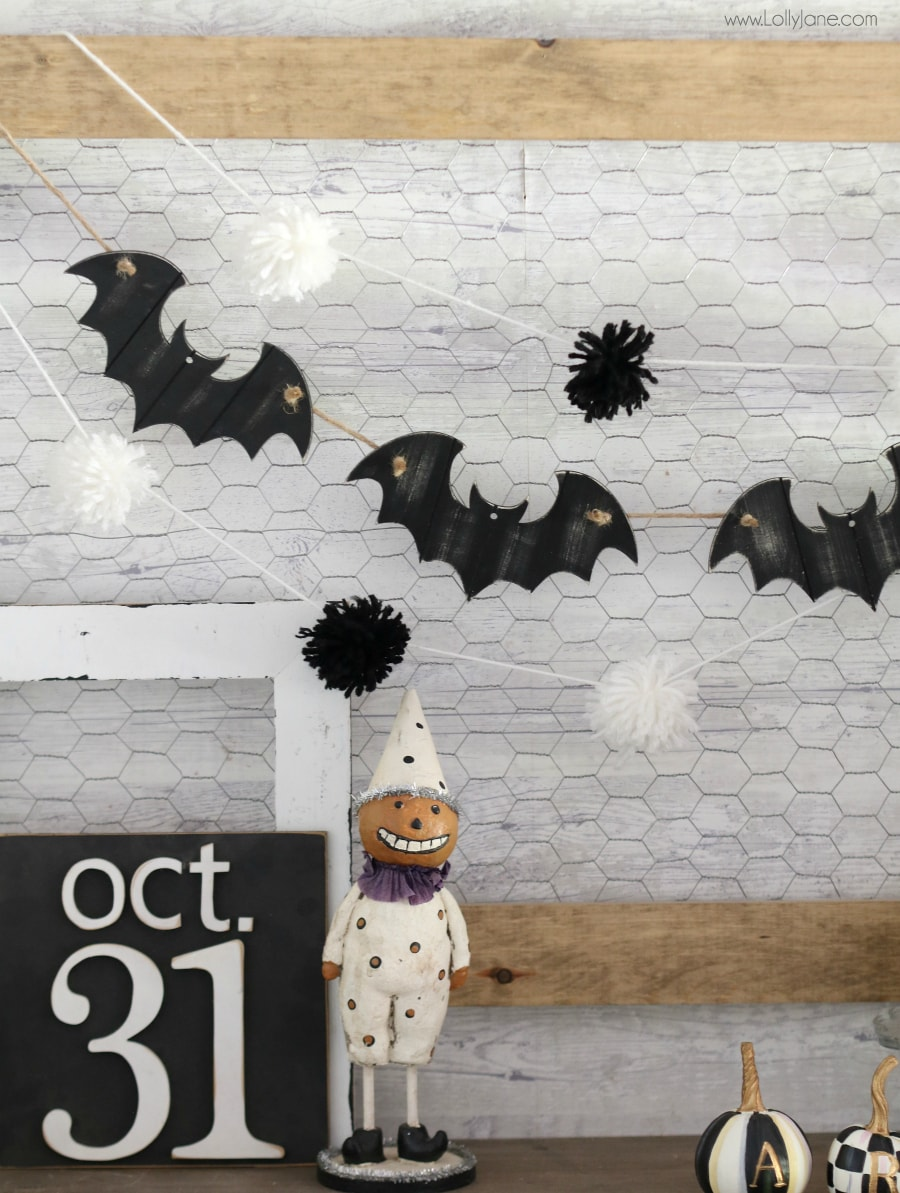 Cute and EASY Bat Garland, made from ornaments in just minutes... and less than $5!