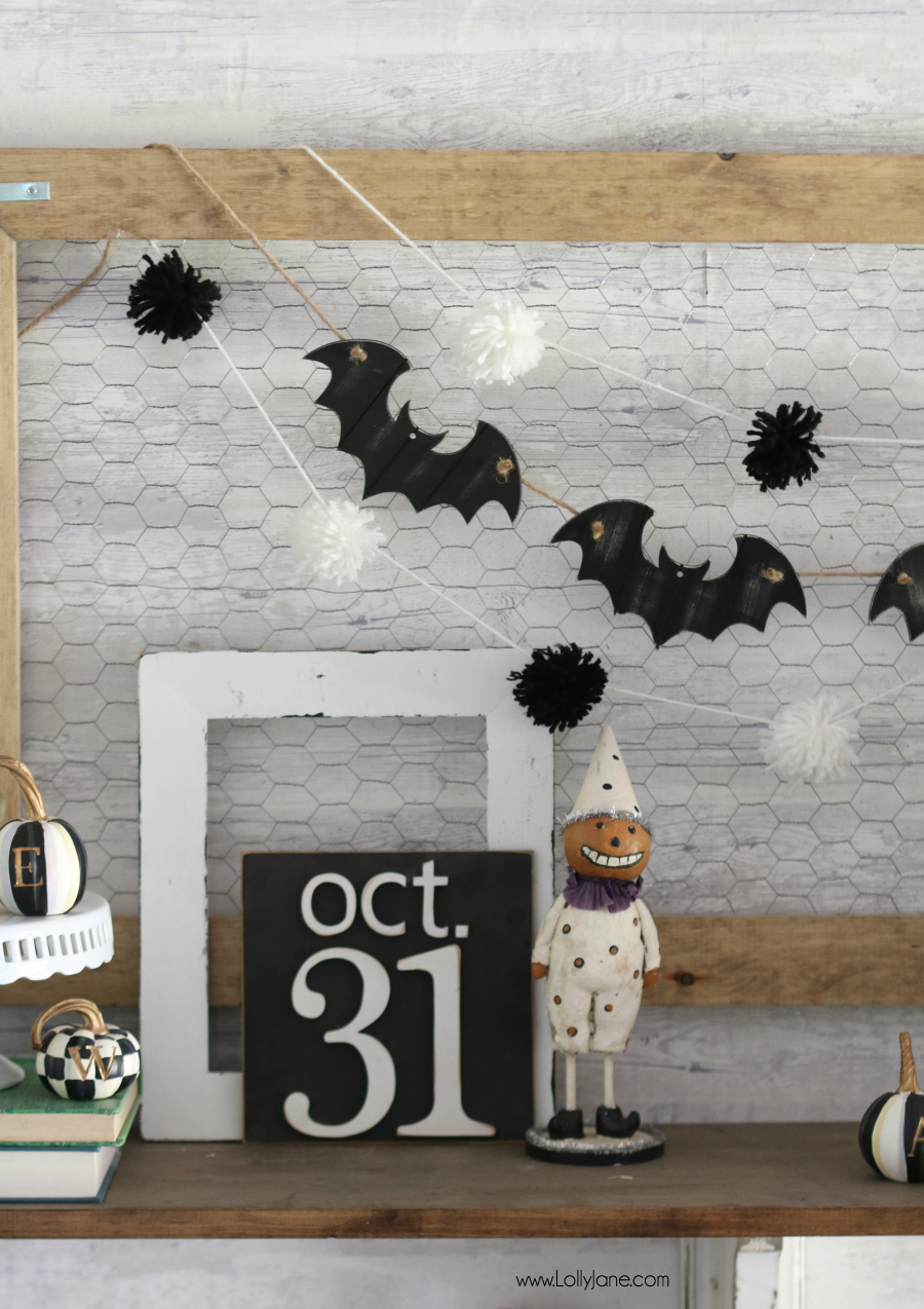 Cute and EASY Bat Garland, made from ornaments for less than $5 and in minutes!