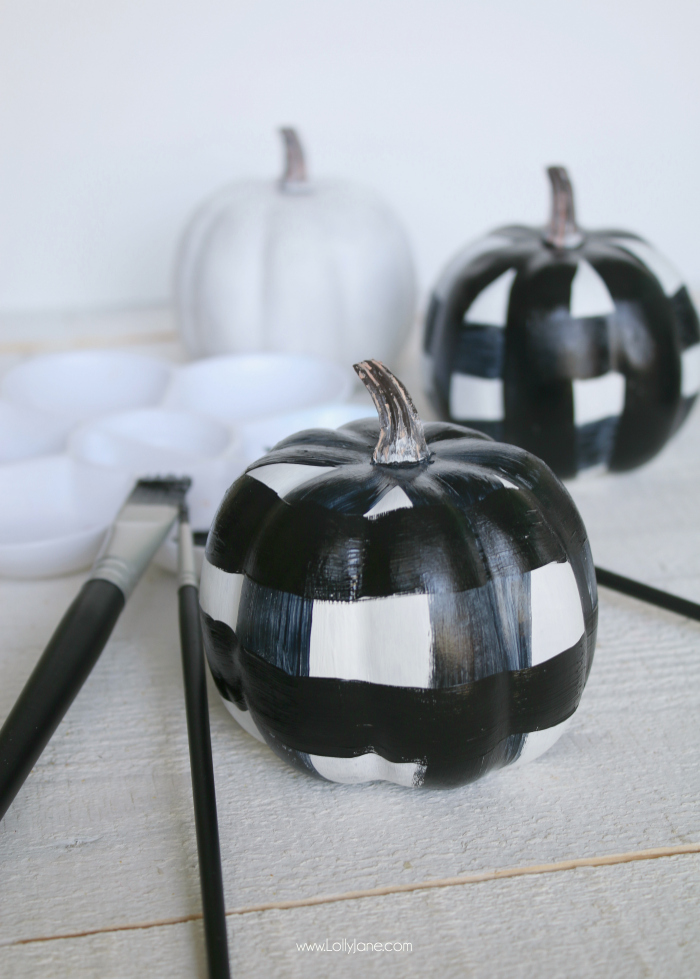 Cute buffalo check painted pumpkins, such an easy DIY!