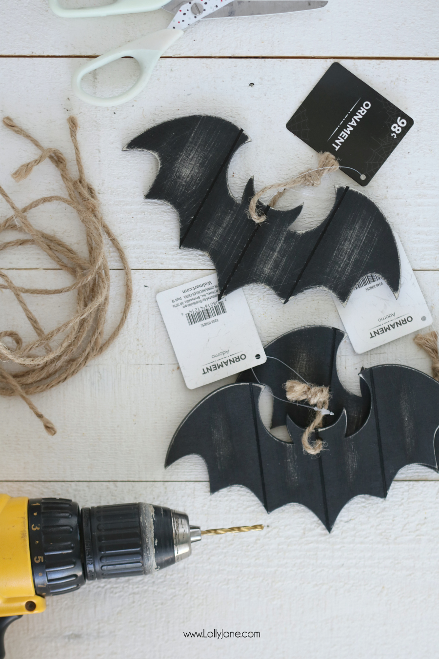 Turn these $.99 bat ornaments into a versatile Halloween garland in just minutes!
