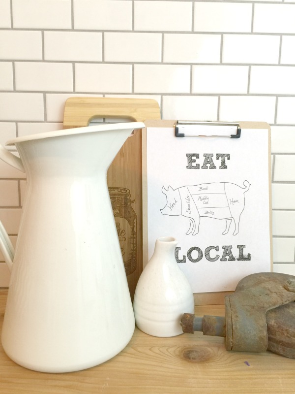 Fun eat local free farmhouse kitchen printable. Such a fun farmhouse kitchen print for your home!