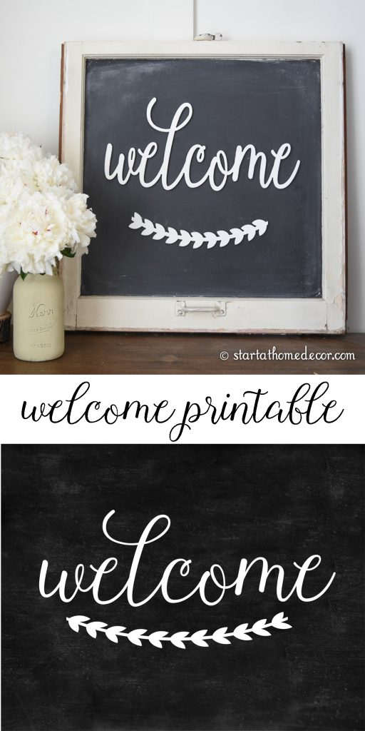 Darling free farmhouse welcome printable! Love this welcome printable with a cute laurel wreath, so fun!