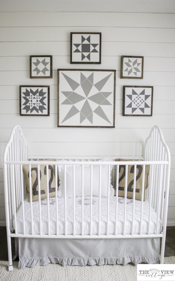 Darling quilt blocks! So happy to have found these free quilt block printables, such a fun farmhouse wall decor idea!