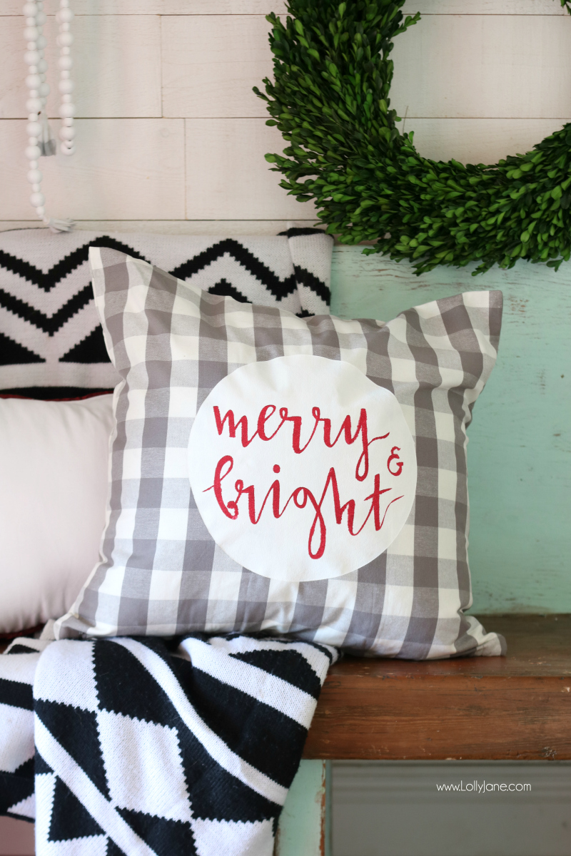 Easy to make Merry & Bright stenciled pillow cover!