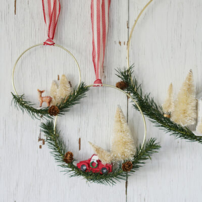 diy bottle brush tree Christmas wreath
