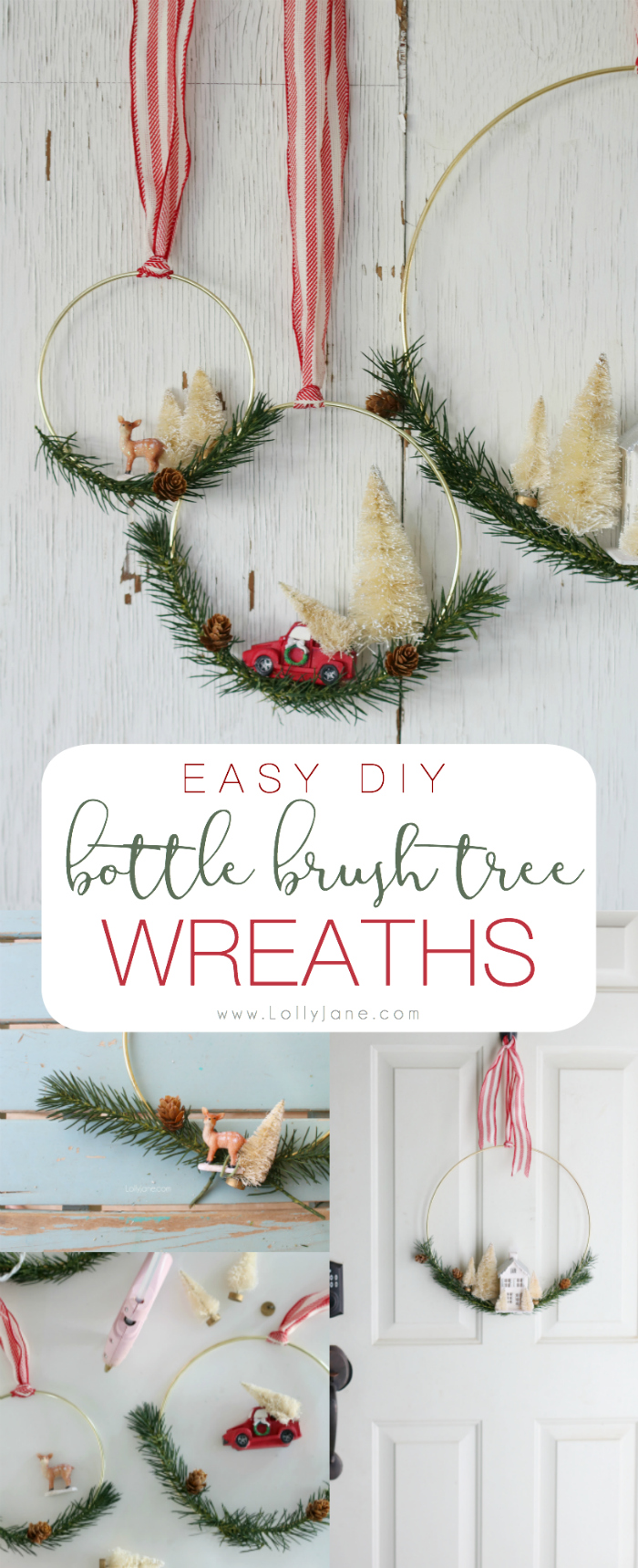 Easy DIY Bottle Brush Tree Wreaths. Perfect to display at Christmas time. So cute! Easy to make in less than an hour!