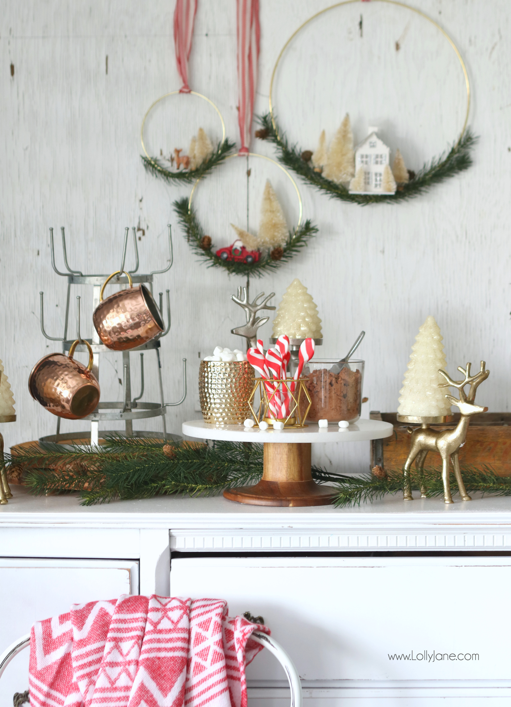 Love this setup to leave up all season! Easy Rustic Glam Hot Chocolate Station, perfect station to grab and go!