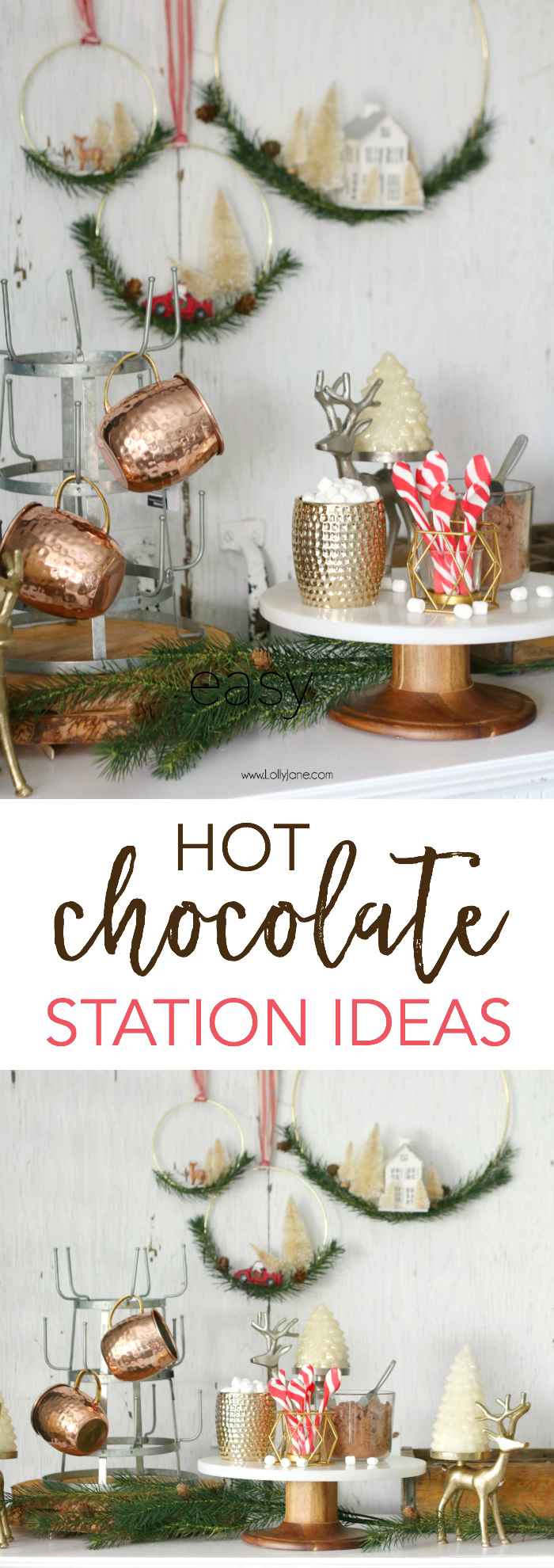 easy hot chocolate station ideas - Love this easy rustic glam hot chocolate display to leave up all season long! YUM!