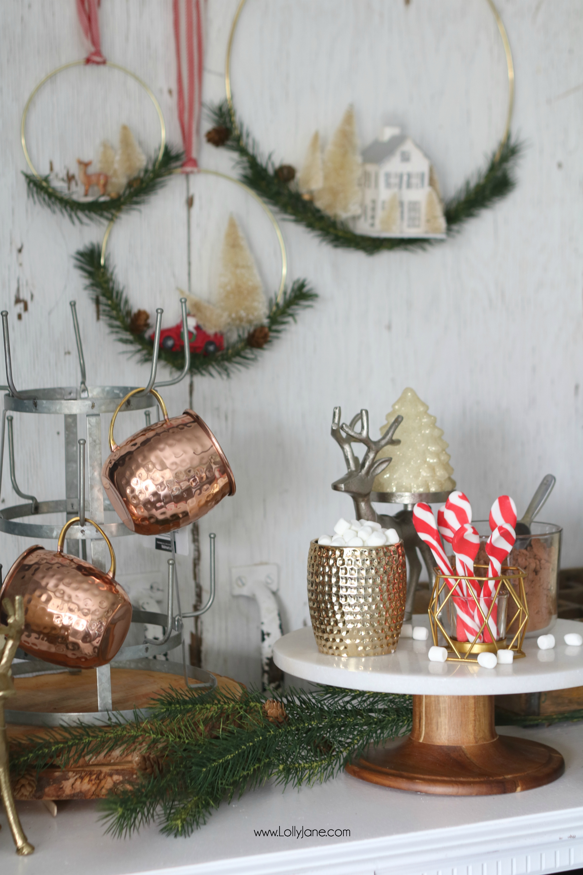 Easy Rustic Glam Hot Chocolate Bar, perfect station to grab and go! Love this setup to leave up all season!