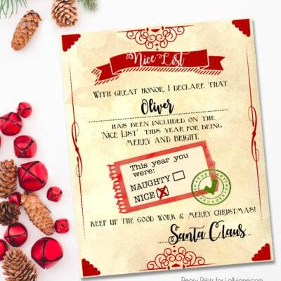 "Santa ""nice list"" free printable certificate"