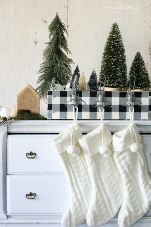 DIY buffalo check stocking hanger tutorial, love this easy DIY! Black white Christmas decor style, love this simple Christmas decor!