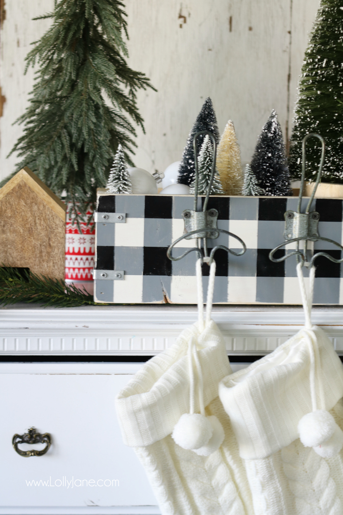 Easy diy stocking hanger tutorial. Great way to store Christmas decor and hang your stockings if you don't have a mantel!