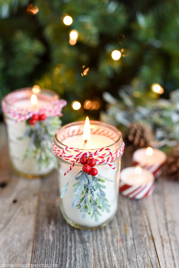 There are a whole slew of Christmas scented candles you can easily buy to simply light and enjoy. From fresh Christmas Tree to Cinnamon Apple, Frosted Cranberries to Evergreen or Peppermint and down to Sugar or Gingerbread Cookies, you're sure to find the scent that reminds YOU of Christmas. We personally love this DIY Christmas scented candle tutorial from A Pumpkin and a Princess!